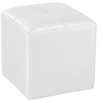 Wellindal Upholstered pouf white square 35 cm x 35 cm