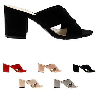 Womens Cross Strap Mules Block Heel Open Toe Fashion Cut Out Sandal Heel UK 3-10
