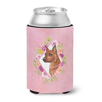 Miniature Pinscher Pink Flowers Can or Bottle Hugger