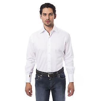 メンズホワイトビリオネアロングスリーブシャツ