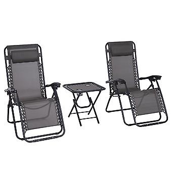 Outsunny 3pcs Folding Zero Gravity Chairs Sun Lounger Table Set w/ Cup Holders Reclining Garden Yard Pool