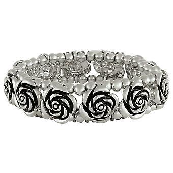Eternal Collection Rosa antiikki hopea kukka venyttää ranne koru