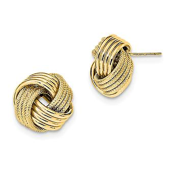 14k Polished Textured Love Knot Post Earrings Jewelry Gifts for Women - 2.5 Grams