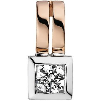 Trailer 375 gold Rotgold bicolor 1 cubic zirconia Rotgold pendant