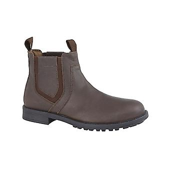 Roamers Dark Brown Crazy Horse Leather Twin Gusset Ankle Boot Leather Lining & Sock Tpr Sole