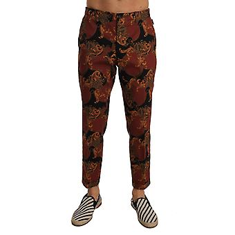 Dolce & Gabbana Black Cotton Bordeaux Cropped Pants