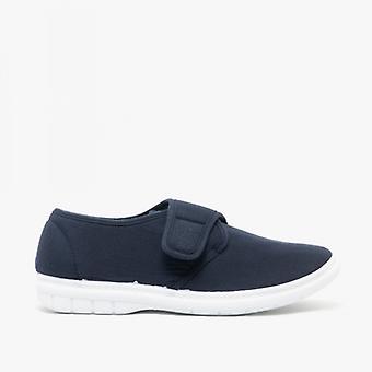 Scimitar Eliot Mens Padded Casual Velcro Shoes Navy Blue Denim