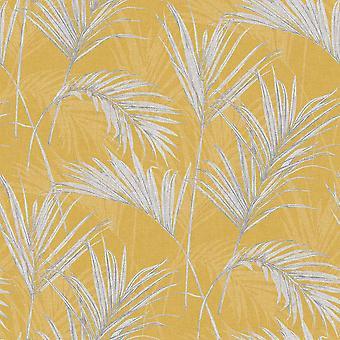 Myriad Palm Springs Fern Wallpaper Mustard Grey Shimmer Tropical Textured