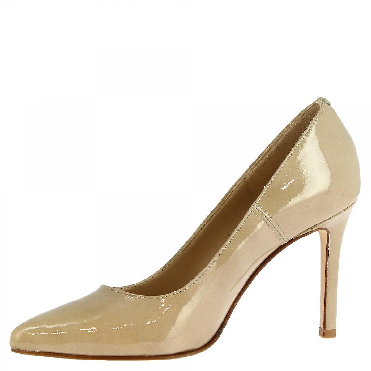 Leonardo Shoes Women's handmade high heels pumps shoes in beige shiny leather