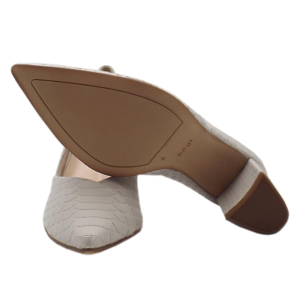 Högl 5-10 7507 Tiverton Pointed Toe Court Shoes In Mineral