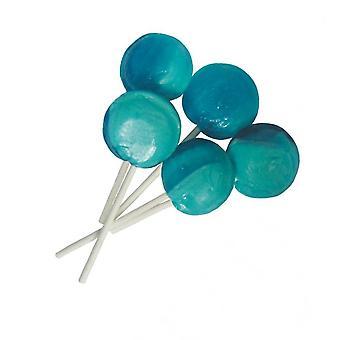 1 zakje 5 blauwe Frambozensmaak Mega lollies