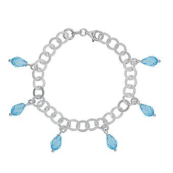 Toc Sterling Silver Circle Link Charm Bracelet with Aqua Crystals