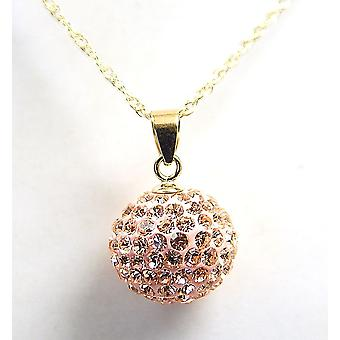The Olivia Collection 9Ct Champagne Disco Ball Pendant on 18 Inch Chain