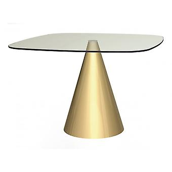 Gillmore Large Square Clear Glass Dining Table With Conical Brass Base