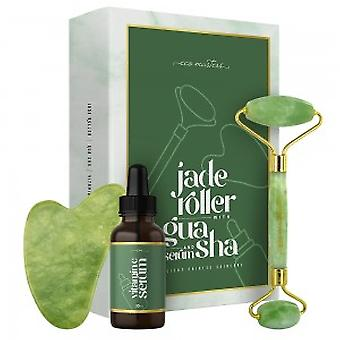 Eco Masters Jade Facial Roller With Gua Sha Tool  + Serum - 1x Jade Roller + 1x Gua Sha Tool + 30ml Vitamin C Serum With Glycerin
