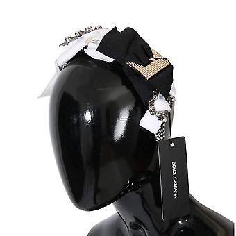 Dolce & Gabbana Clear Crystal Silk Bow Headband -- SMY1797232