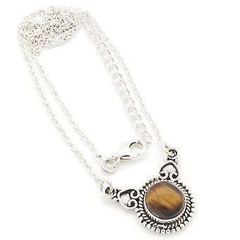 Tiger Eye Necklace 925 Silver Sterling Silver Chain Necklace Brown (MCO 10-18)