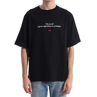 424 80280590999 Men's Black Cotton T-shirt