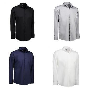 ID Mens Fine Twill Shirt Long Sleeve Modern Fit