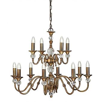 12-light Pendant Lamp Polina, Antique Brass And Crystal