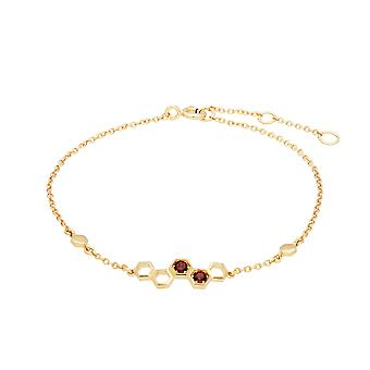 Honeycomb Inspired Garnet Link Bracelet in 9ct Yellow Gold 135L0305029