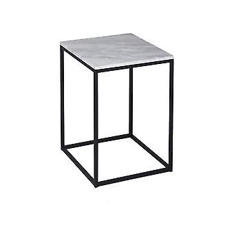 Gillmore vit marmor och Black Metal samtida fyrkantiga sidobord