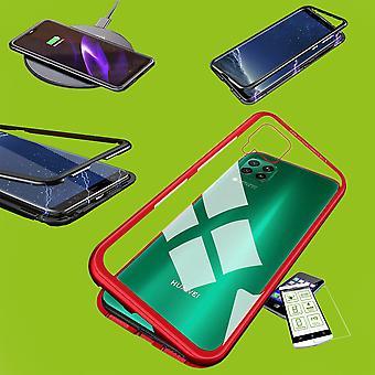 Für Samsung Galaxy M30s M307F / M21 M215F Magnet / Metall / Glas Tasche Case Rot / Transparent + 0,26 mm H9 Hart Glas
