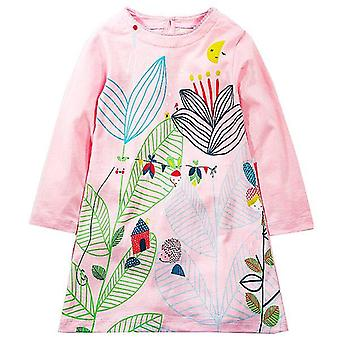 Long Sleeve Princess Tunic Jersey Dress, Tall Leaf Design, Infant