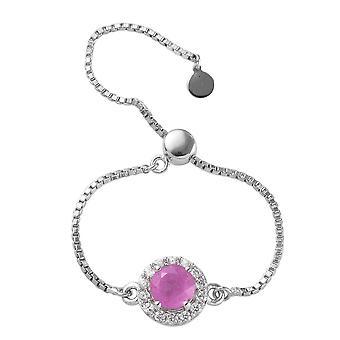 Halo Pink Sapphire Ring Platinum Over Silver Cambodian Zircon, Blue Sapphire TJC