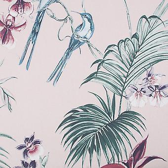 Julien Macdonald Utopia Pink Tropical Paradise Floral Birds Wallpaper
