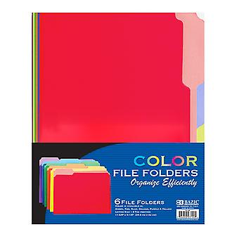 3109-48, BAZIC 1/3 Cut Letter Size Color File Folder (6/Pack) Case of 48