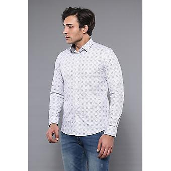 Patterned white long sleeve shirt | wessi
