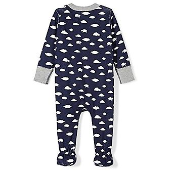 Moon and Back Baby Organic Footed Zip-Front Sleep and Play, Navy Cloud, 3-6 M...