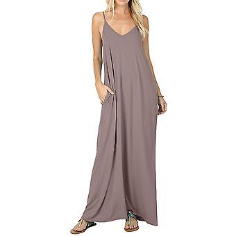 CALIPESSA Womens Summer Deep V Neck Sleeveless Sexy Cami Slip Long Dress Khak...