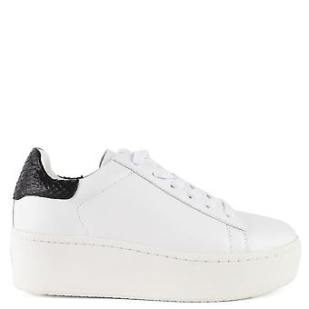 Ash CULT Trainers White & Python Effect Leather