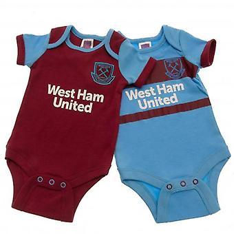 West Ham United 2 Pack Bodysuit 6-9 Months SK