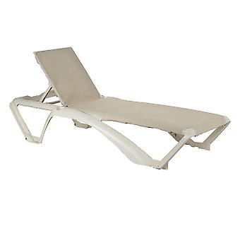 Resol 2 Piece Marina Garden Sun Lounger Bed Set - Adjustable Reclining Outdoor Patio Canvas Furniture - Neutral