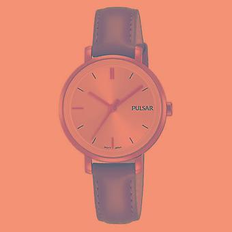 Pulsar Ladies Brown Leather Strap Gold Case 50M Watch (Model No. PH8364X1)