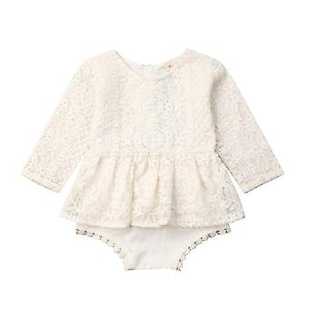 Newborn Baby Girl Sleeveless/long Sleeve Lace Romper Jumpsuit Tutu Dress Outfits Clothes 0-24m