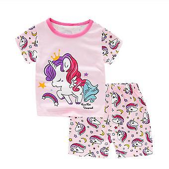 Lasten yksisarvinen pyjama, pitkähihaiset puuvillaiset univaatteet