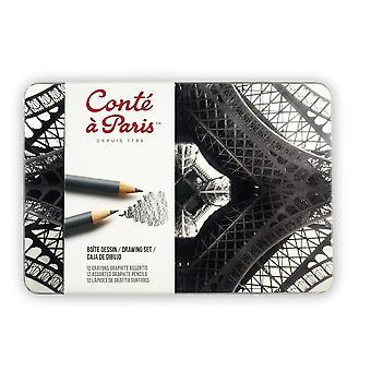Conte a Paris Drawing Tin Set of 12 Assorted Graphite Pencils