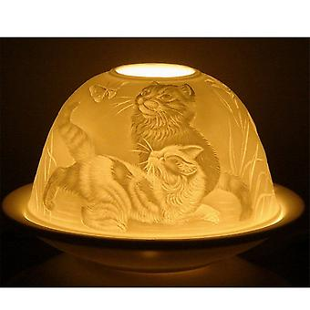 Nordic Lights Candle Shade & Plate - Cats & Butterfly