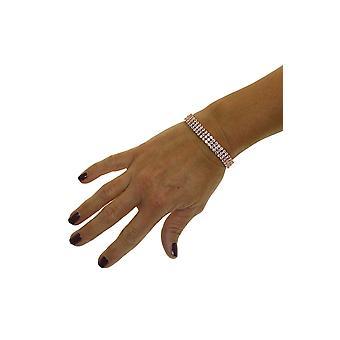 Womens 3 Row Crystal Diamante Link Bracelet