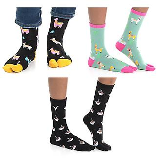 Flip Flop Tabi Big Toe Socks Llama Black, Llama Green, Coffee Cups -3 Pairs