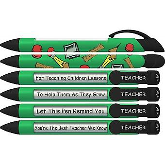 36401, Greeting Pen Rotating Message Teacher Pen - #1 Teacher (Green) 6 Pack (36401)