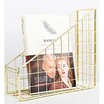 Electroplated Iron Book Holder, Desktop Shelf/file Box/magazine Book Stand