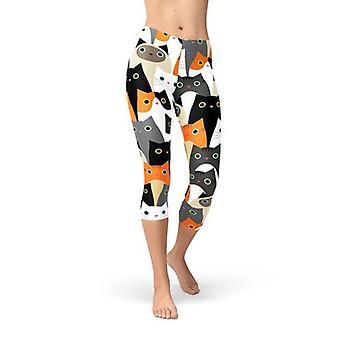 Womens All Over Print Cats Capri Leggings