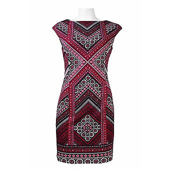 Cap Sleeve Multi Pattern Print Ponte Sheath Dress