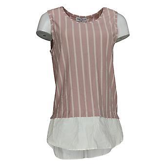 Kathleen Kirkwood Women's Top Striped Tank Wit Shirttail Hem Pink A352377