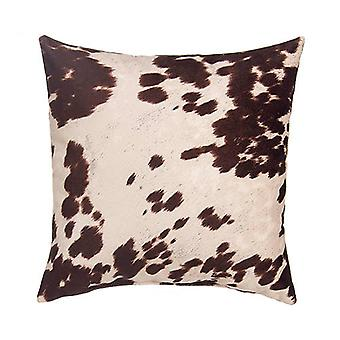 """Faux Cowhide Sueded Square Pillow 18"""" X 18"""", Brown"""